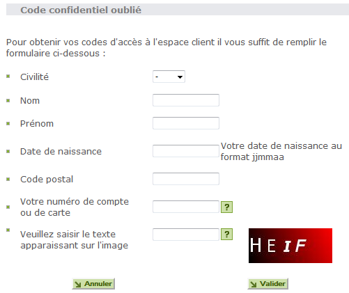 Code confidentiel oublié Franfinance